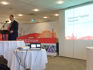 Rotherham Council Leader, Councillor Chris Read, speaking at the 2019 Rotherham Together Partnership showcase event